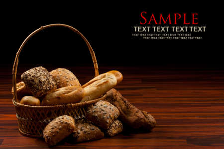 bakery products: Assortment of baked goods in black background Stock Photo
