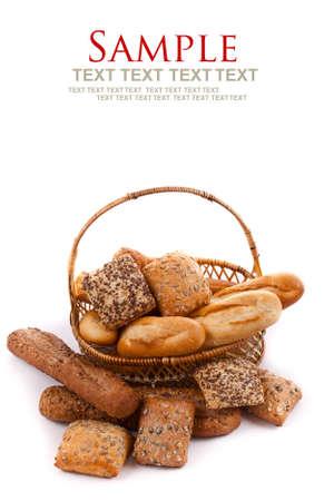 prodotti da forno: Assortimento di prodotti da forno in sfondo bianco