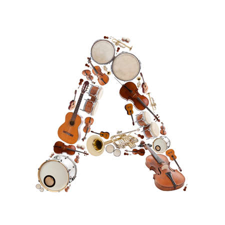 Musical instruments alphabet on white background. Letter A