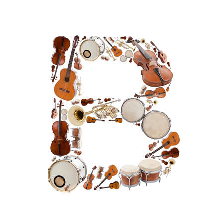 Musical instruments alphabet on white background. Letter B photo