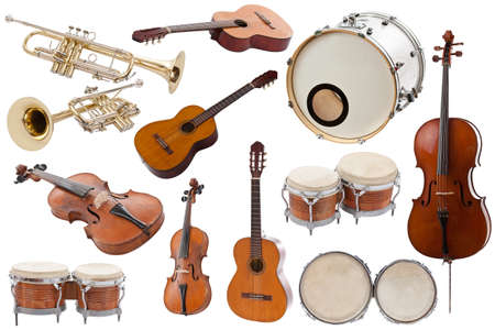 bass drum: Musical instruments collection on white background  Stock Photo