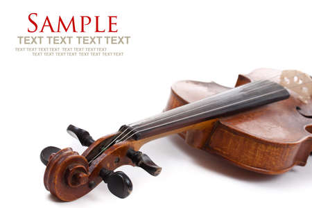 Violin on white background with text space Stock Photo - 10225696