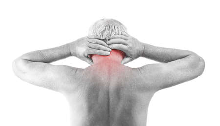Senior man with neck pain, isolated in white Stock Photo - 10508064
