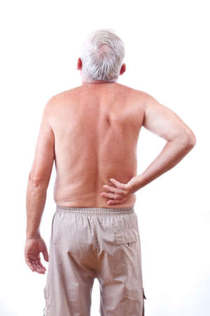 aching muscles: Senior man with back pain, isolated in white Stock Photo