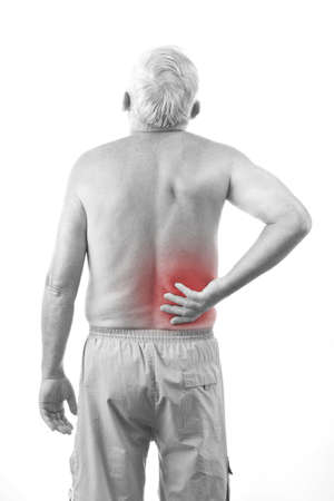 back ache: Senior man with back pain, isolated in white Stock Photo