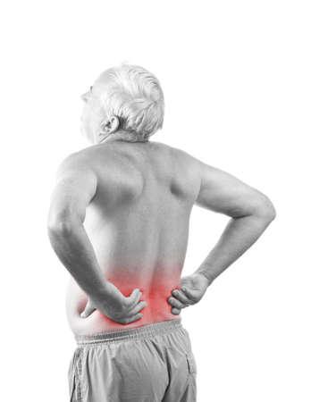 dolor  muscular: Hombre alto con dolor de espalda, aislado en blanco Foto de archivo
