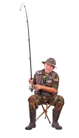 twitch: Senior fisherman isolated on white background