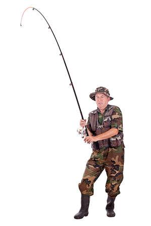 hombre pescando: Pescador altos aislados sobre fondo blanco Foto de archivo