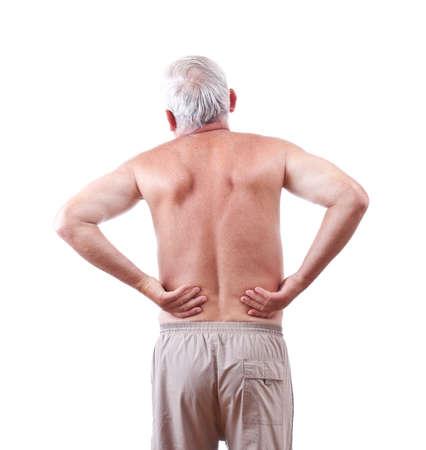 dolor  muscular: Hombre mayor con dolor de espalda, aislado en blanco Foto de archivo
