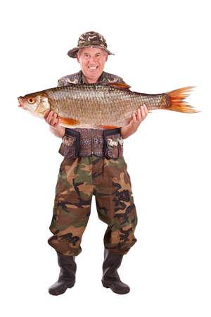 fishingpole: Senior fisherman with his catch, isolated on white  Stock Photo