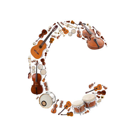 Musical instruments alphabet on white background. Letter C