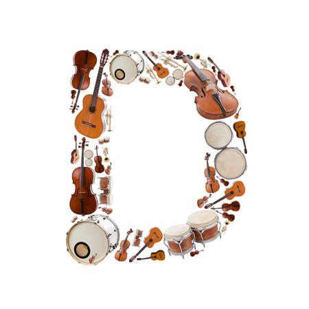 楽器: 白い背景の楽器アルファベット。D の文字