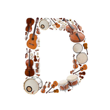 Musical instruments alphabet on white background. Letter D photo
