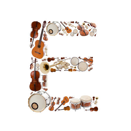 musical instrument parts: Musical instruments alphabet on white background. Letter E