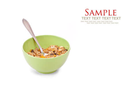 oatmeal bowl: Delicious and healthy wholegrain muesli breakfast, with lots of dry fruits