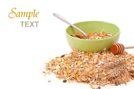 dry fruits: Delicious and healthy wholegrain muesli breakfast, with lots of dry fruits