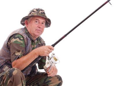 Senior fisherman isolated on white background  photo