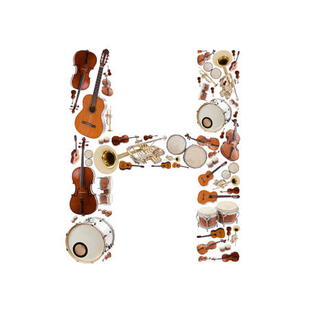 Musical instruments alphabet on white background. Letter H photo