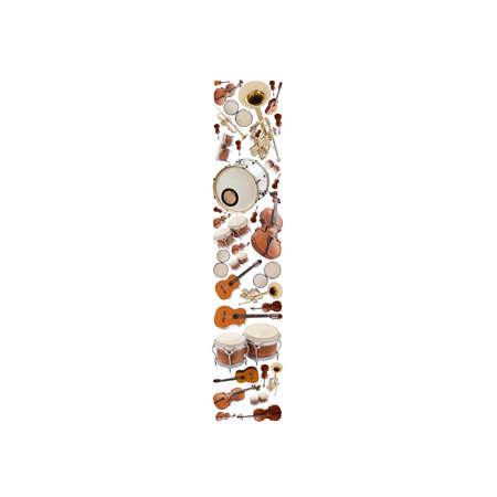 Musical instruments alphabet on white background. Letter I