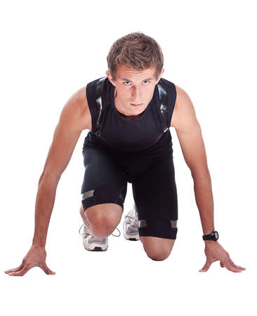 male athlete: Full length portrait of a male athlete looking at camera isolated on white background