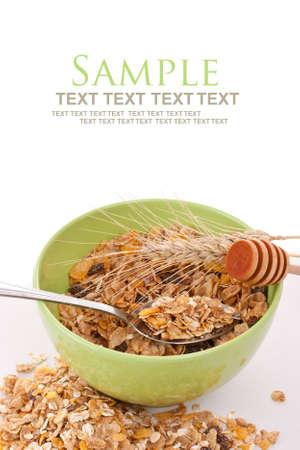 cereal: Delicioso y saludable desayuno muesli integral, con una gran cantidad de frutos secos