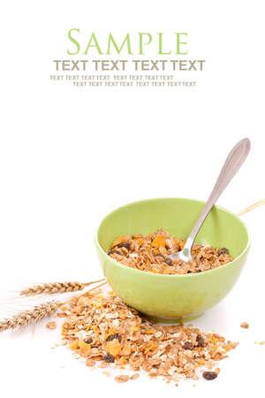 frutas secas: Delicioso y saludable desayuno muesli integral, con una gran cantidad de frutos secos