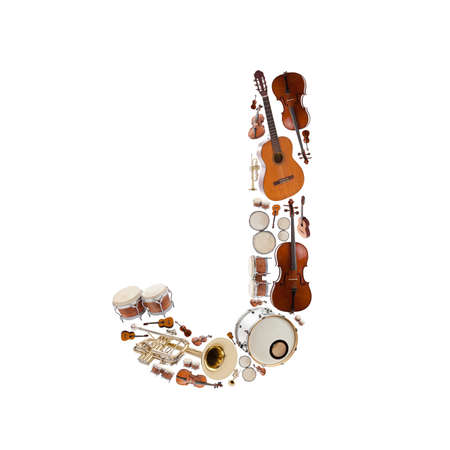 musical instrument parts: Musical instruments alphabet on white background. Letter J Stock Photo
