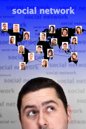 worl: Social network concept with people photos in worl map over man head Stock Photo