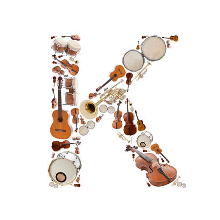 Musical instruments alphabet on white background. Letter K