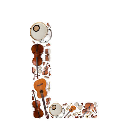 Musical instruments alphabet on white background. Letter L photo