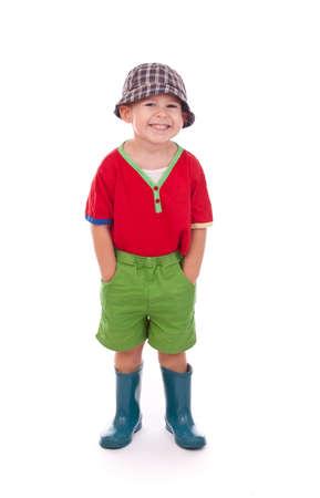 wellingtons: Little boy in wellingtons Stock Photo