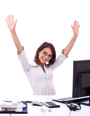hurray: Young woman in office jubilates at desk. Isolated on white background. Stock Photo