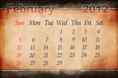 February old grunge paper calendar Stock Photo - 10769962