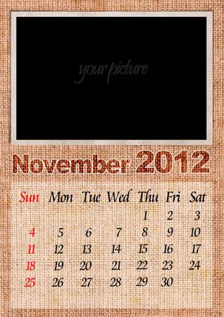 November textile calendar, with photo frame photo