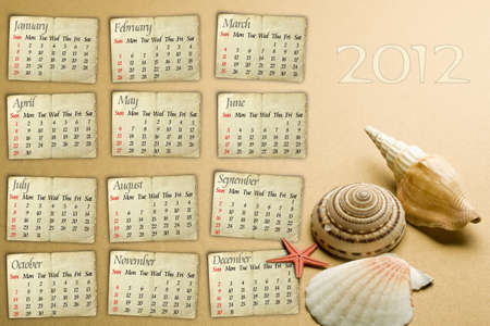 Calendar grid 2012 year english, seashell and starfish concept photo