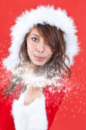 Portrait of beautiful sexy girl wearing santa claus clothes Stock Photo - 11380506