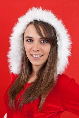 Beautiful and sexy woman wearing santa clause costume photo