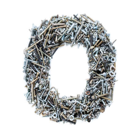 Number 0 made of screws isolated on white  photo