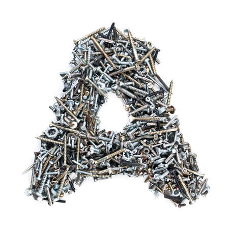 metal fastener: Letter A made of screws isolated in white background