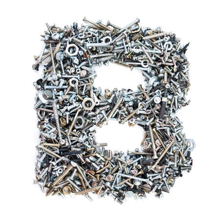 nuts and bolts: Letter B made of screws isolated in white background Stock Photo