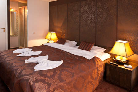 towels wall: Interior of modern comfortable hotel room