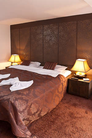 double room: Interior of modern comfortable hotel room