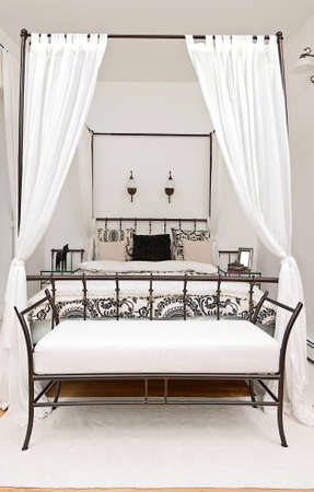bedchamber: Bed with curtain in modern interior