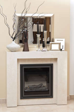 Fire place in living room  Stock Photo - 12070881