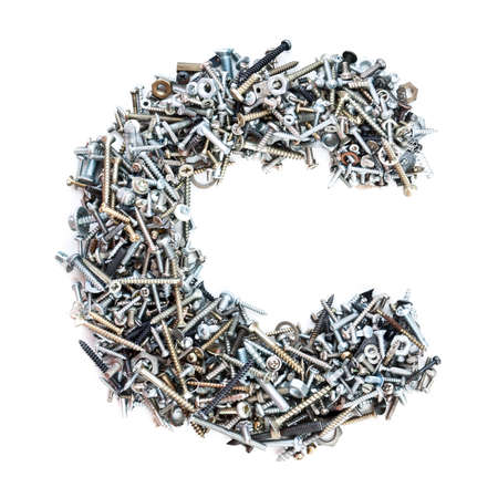 Letter C made of screws isolated in white background