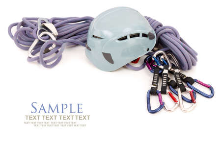 belaying: Climbing equipment - carabiners, helmet and rope