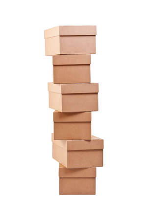 stockpiling: Brown cardboard boxes arranged in stack on white background