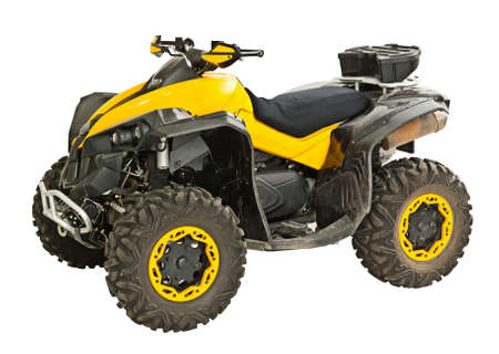 quad: Yellow quadbike isolated on white