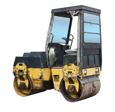 The image of old road roller under the white background  photo