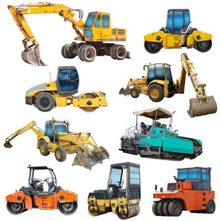 Set of construction machinery equipment isolated  Stock Photo